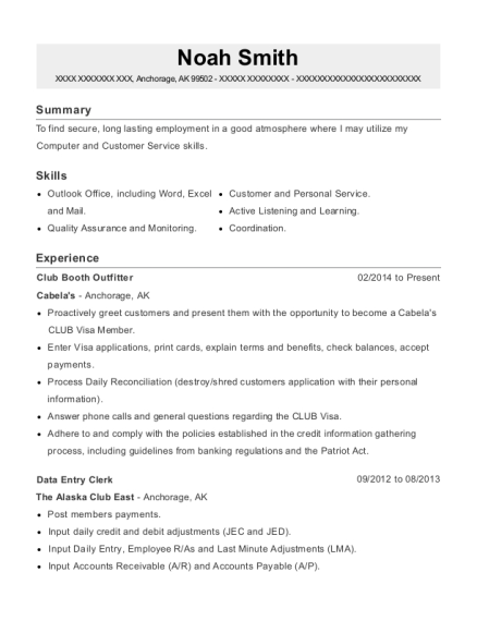 Club Booth Outfitter resume sample Alaska
