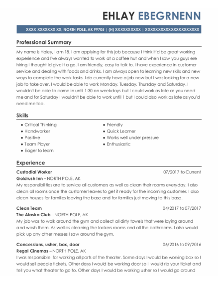 Custodial Worker resume example Alaska