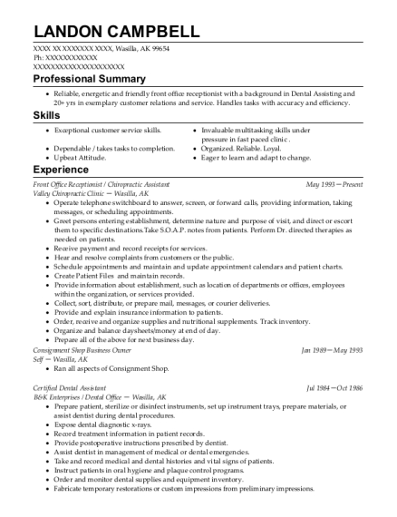 Front Office Receptionist resume example Alaska