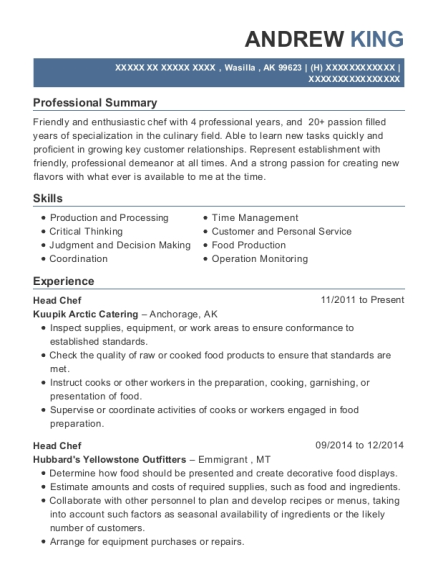 Head Chef resume sample Alaska