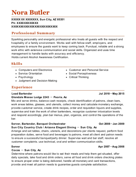 Lead Bartender resume example Arizona