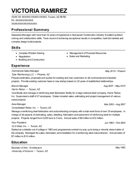 Commercial Sales Manager resume template Arizona