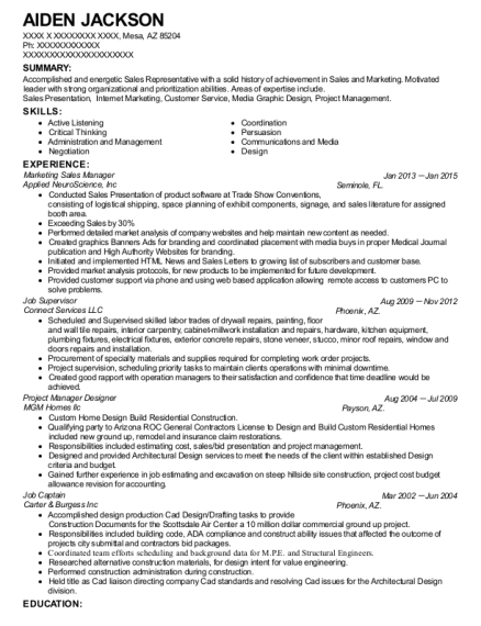 Marketing Sales Manager resume format Arizona