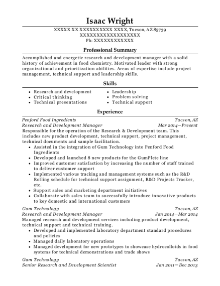 Research and Development Manager resume example Arizona