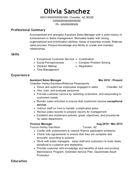 Assistant Sales Manager resume template Arizona