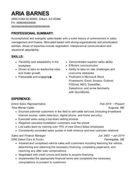 Direct Sales Representative resume example Arizona