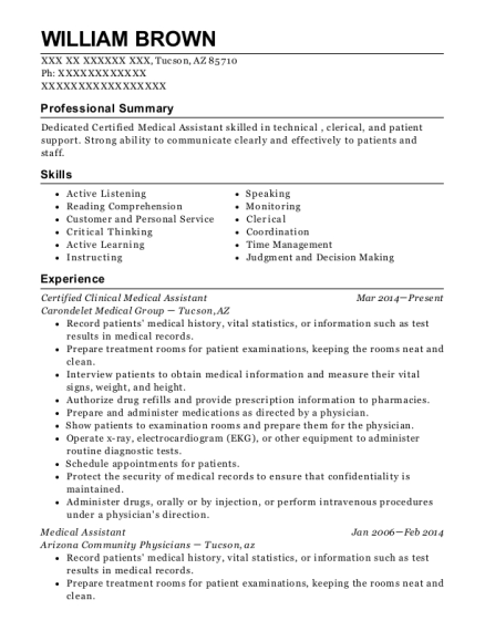 Certified Clinical Medical Assistant resume sample Arizona