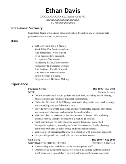 Physician Scribe resume format Arizona