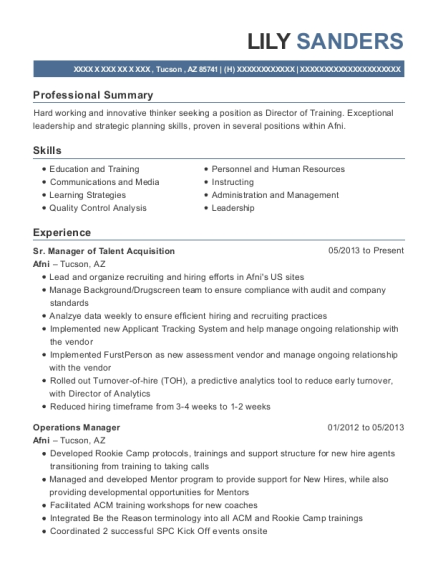 Sr Manager of Talent Acquisition resume sample Arizona