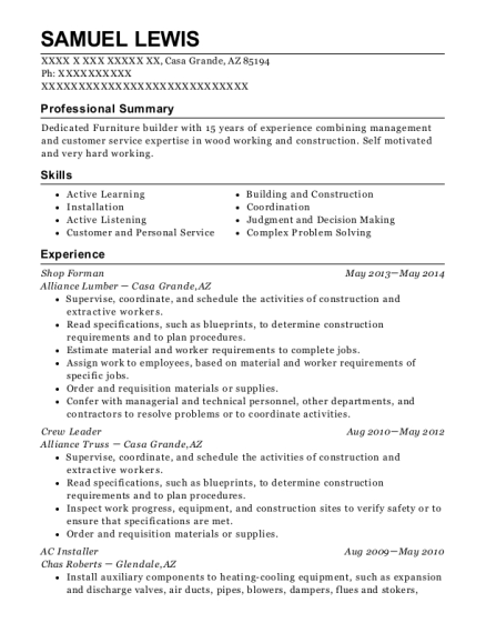 Shop Forman resume sample Arizona