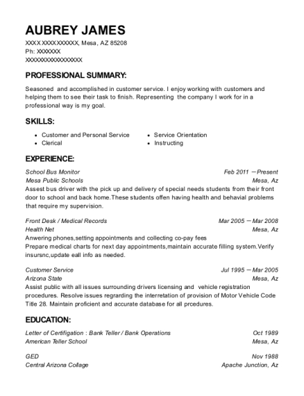 School Bus Monitor resume template Arizona