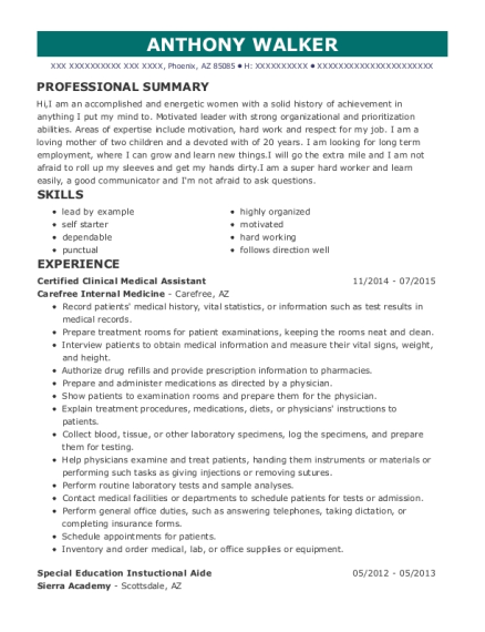 Certified Clinical Medical Assistant resume format Arizona