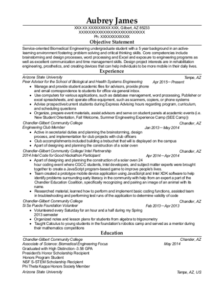 Peer Advisor for the School of Biological and Health Systems Engineering resume example Arizona