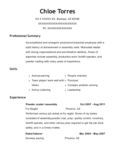 Powder coater resume format Arizona