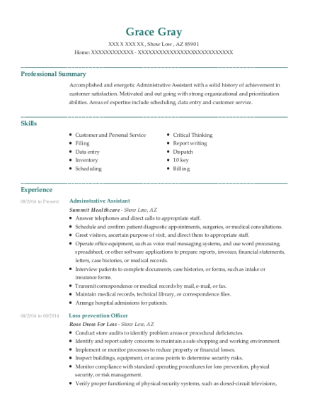 Adminstrative Assistant resume template Arizona