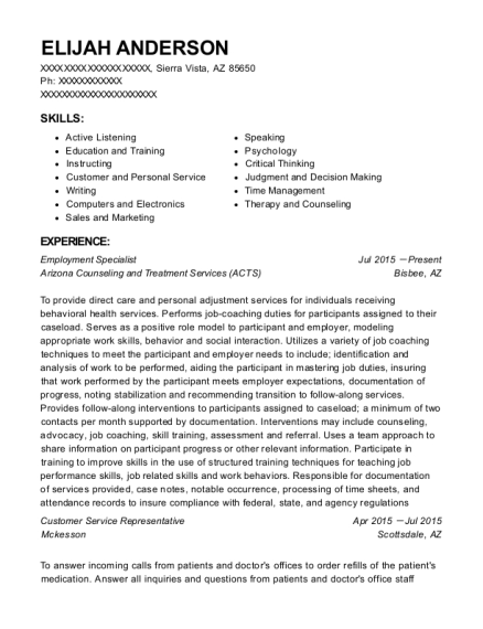 Employment Specialist resume example Arizona