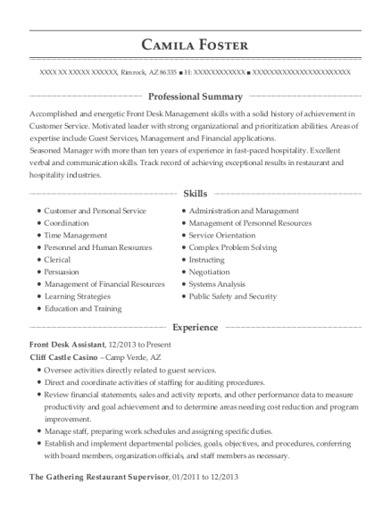 Front Desk Assistant resume example Arizona