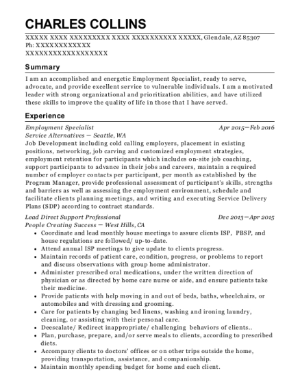 Employment Specialist resume format Arizona