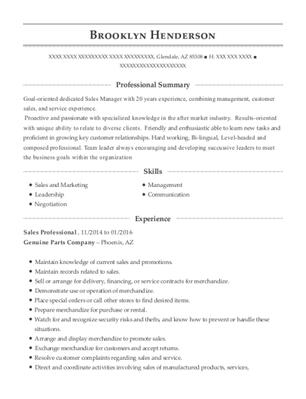Sales Professional resume example Arizona