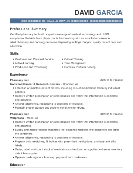 Pharmacy tech resume format Arizona