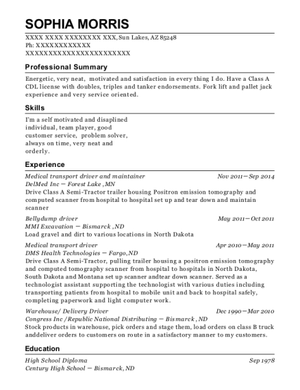 Medical transport driver and maintainer resume template Arizona
