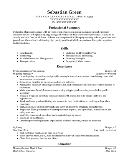Shipping Manager resume template Arizona