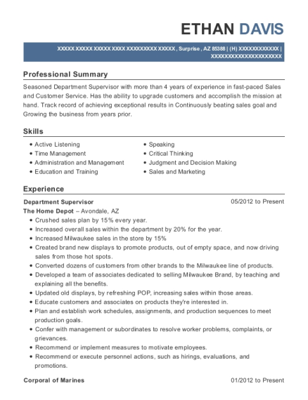Department Supervisor resume example Arizona