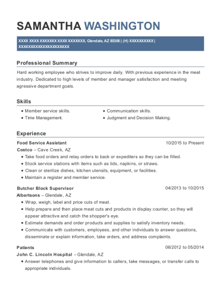 Food Service Assistant resume format Arizona