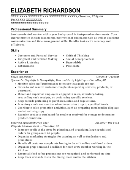 Sales Supervisor resume example Arizona