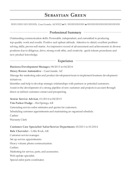 Business Development Manager resume sample Arizona