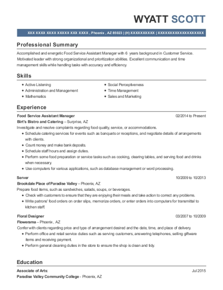 Food Service Assistant Manager resume template Arizona