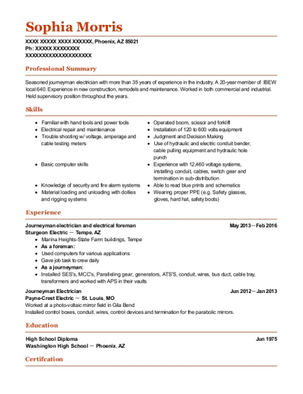 Journeyman electrician and electrical foreman resume example Arizona