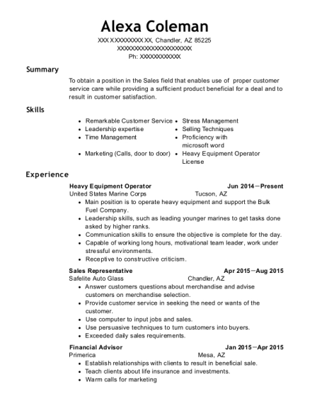 Heavy Equipment Operator resume example Arizona