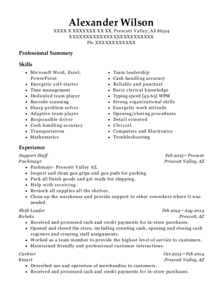 Support Staff resume example Arizona