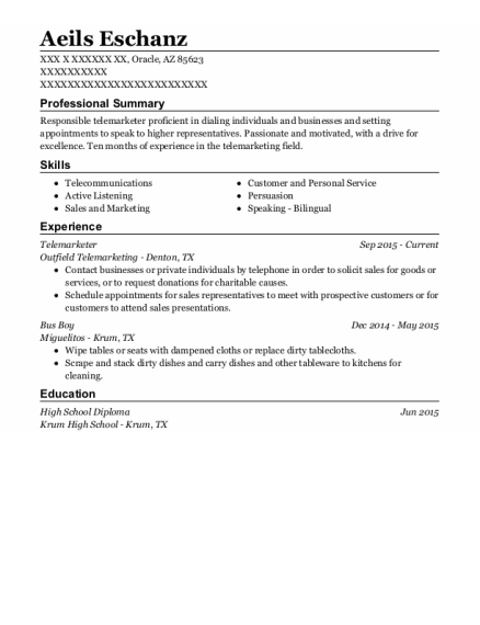 Telemarketer resume template Arizona