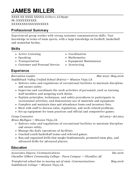 Recreation Leader resume sample Arizona