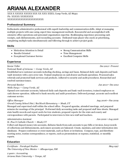 Senior Teller resume template Arizona