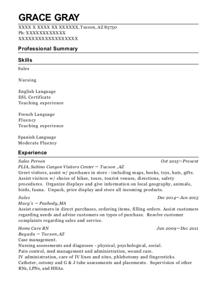 Sales Person resume sample Arizona