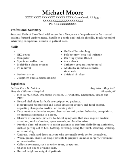 Patient Care Technician resume template Arizona