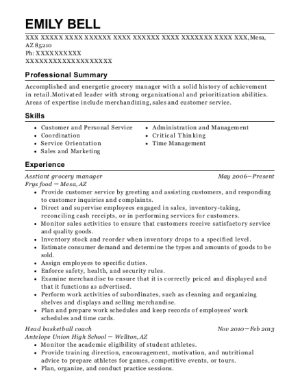 Asstiant grocery manager resume example Arizona