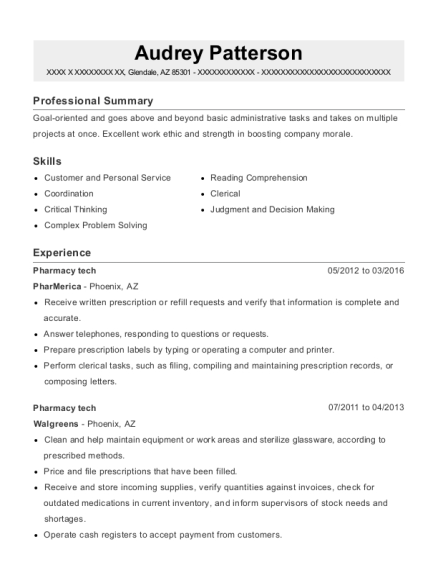 Pharmacy tech resume example Arizona
