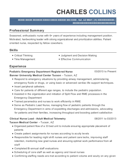 Pediatric Emergency Department Registered Nurse resume example Arizona