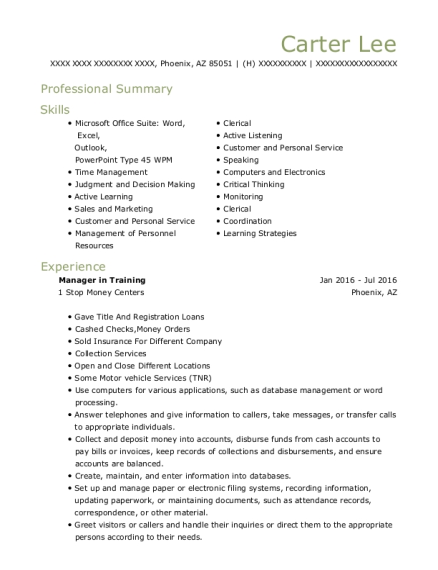 Manager in Training resume template Arizona
