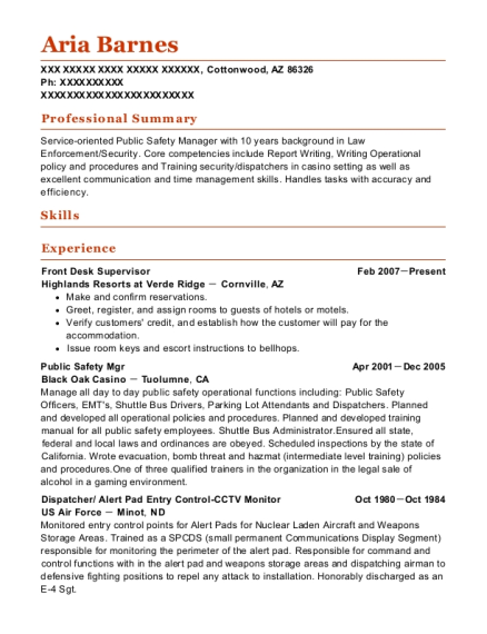 Front Desk Supervisor resume template Arizona