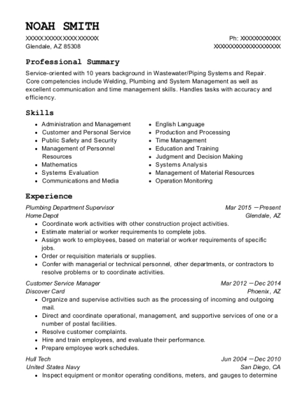 Plumbing Department Supervisor resume format Arizona