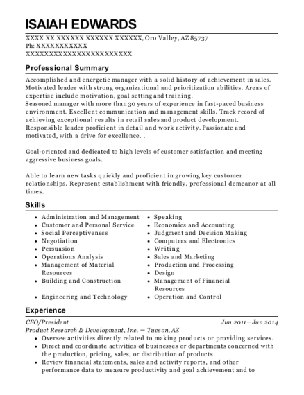 CEO resume example Arizona