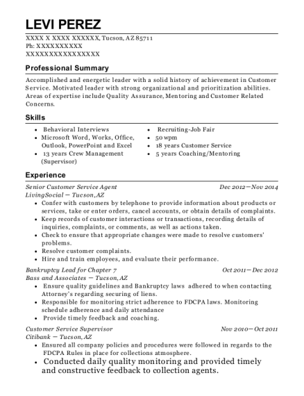 city of ft worth senior customer service resume sample