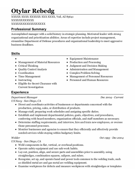 Department Manager resume example Arizona