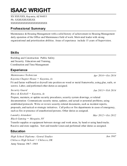 Maintenance Technician resume format Arizona