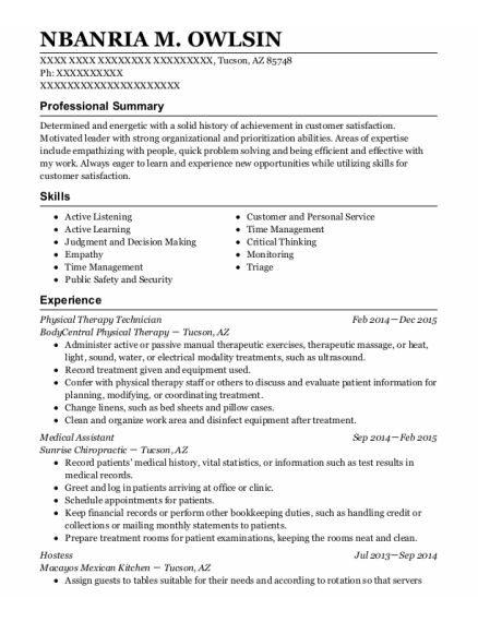 Physical Therapy Technician resume format Arizona